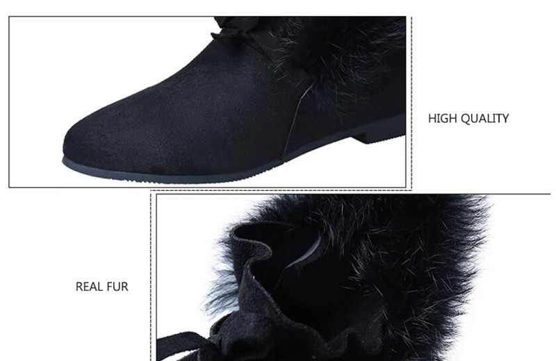 COOTELILI  Women Boots Winter Autumn Ankle Boots For Women Boots Slip On Real Fur Rubber Flat Boots Ladies Women Shoes 35-.39 (1)