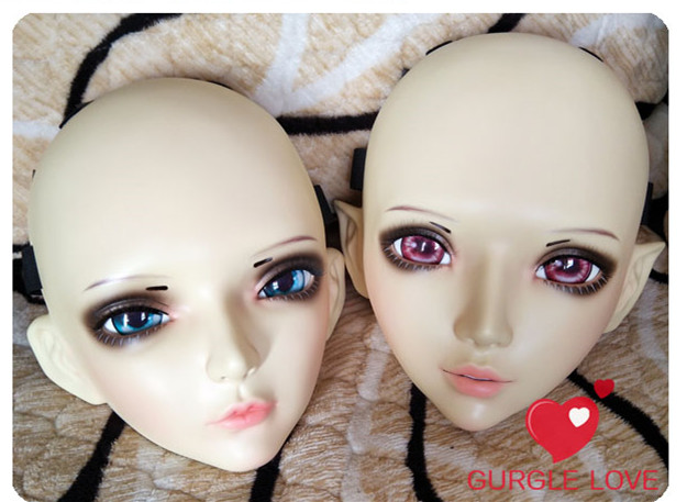 Sweet Girl Resin Half Head Bjd Kigurumi Mask With Eyes Cosplay Anime Role Lolita Mask Crossdress Doll Convenient To Cook Reasonable gl078