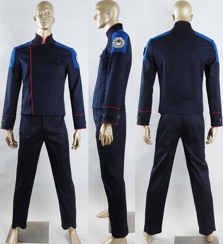 Battlestar Galactica Uniform  Outfit Sci-Fi Fancy Make-up Halloween Carnival Cosplay Costume Men Adults