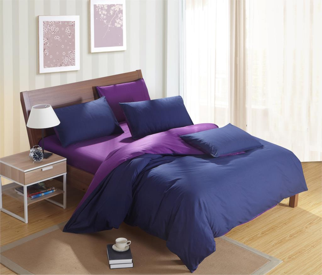 Solid dark purple bedding - Purple Color Plain Mixed Colors 100 Cotton Duvet Cover Set Dark Coffee Camel 1 Fast