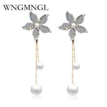 WNGMNGL 2018 New Women Dangle Earrings Rhinestone Simulated Pearl Long Drop for Charm Statement Fashion Jewelry