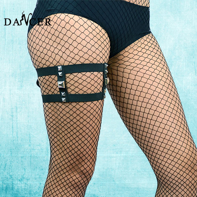 Сексуальные чулки подвязки черный пять заклепки ног жгут пояс бедра кейдж подвязки ремни женщины pole dance lingerie underwear p0036