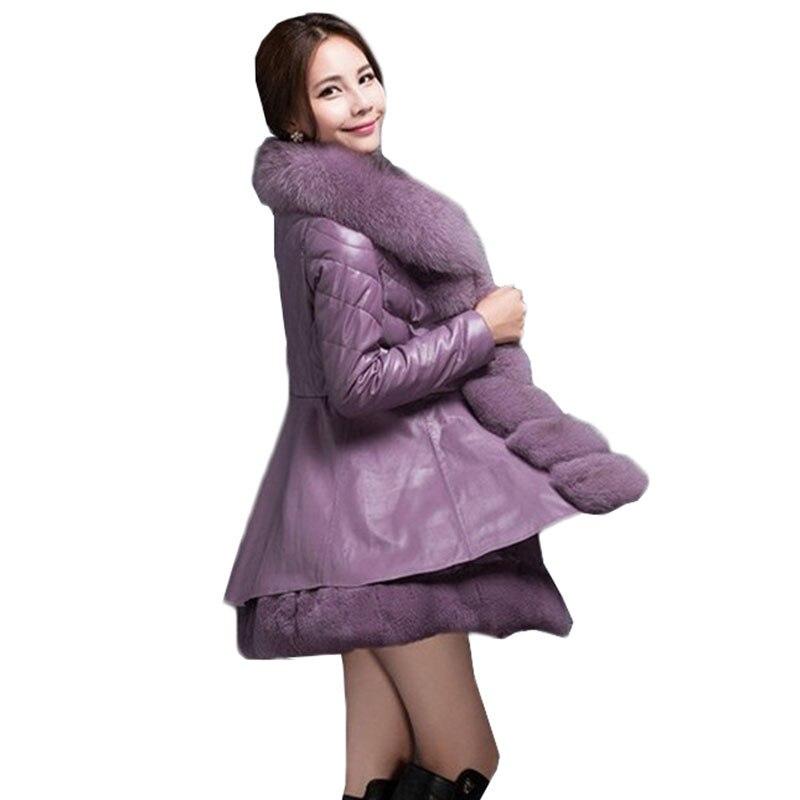 Veste Taille Vers Manteaux Atchwork Le En Fourrure purple Faux Col black D'hiver Femmes Haute La Coton Plus Renard Manteau Bas De 6xl Qualité Beige W44 Parkas Cuir Uq61Iq