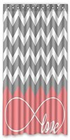 Love Infinity Forever Love Symbol Chevron Pattern Pink Grey White Waterproof Bathroom Fabric Shower Curtain Bathroom