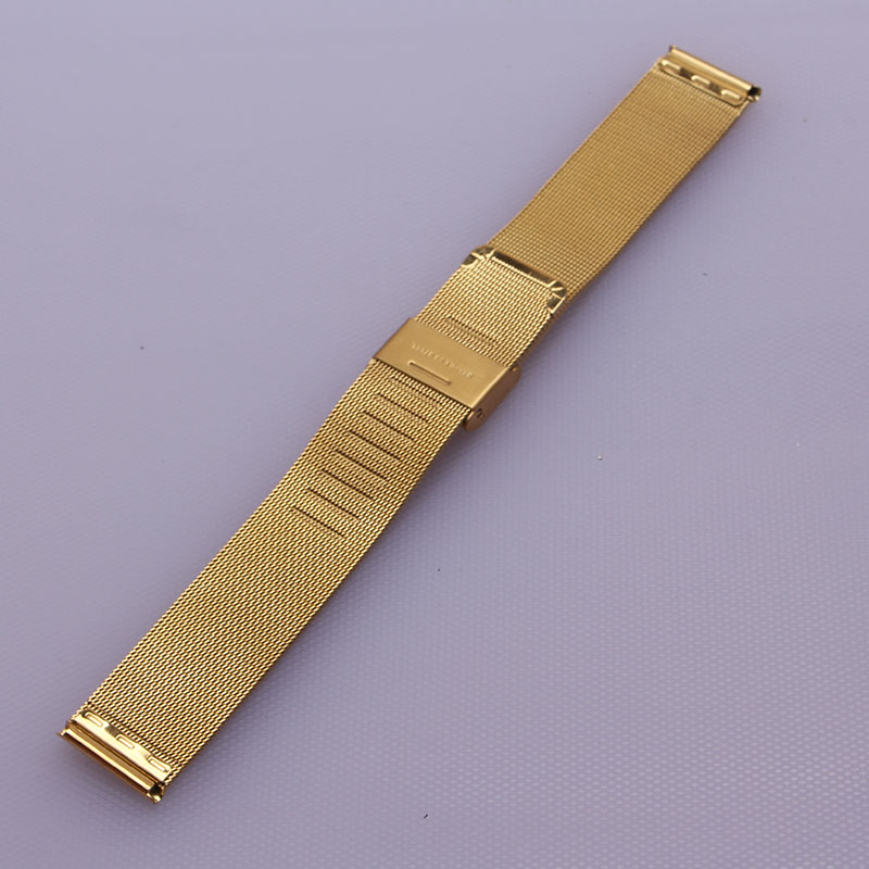 Watchband strap thin mesh for quartz watches16mm 18mm 20mm 22mm 24mm Stainless Steel Metal Watch Band Strap Bracelet Yellow gold все цены
