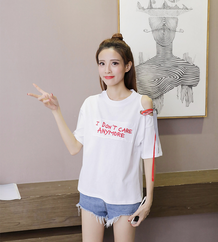 d485f2af84 Hipster Ribbon T shirt Asymmetric Open Shoulder Tee 2018 Summer Women Letter  Embroidery Tops Fashion Short Sleeve Cute T shirt-in T-Shirts from Women's  ...
