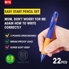 M&G Easy Start Ergonomic Mechanical Pencil Set Pencils Grip Gift Set for kids Lead Automatic Wood Pencil school 0.9mm HB cute 1pc zebra p ma85 delguard automatic mechanical pencil prevents lead breakage 0 5mm japan with erase 6 body colors for choose