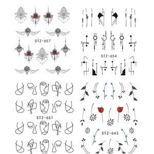 Image 3 - 1 sztuk biały czarny paznokci naklejki woda kalkomanie transferowe dekoracje Dream Cather suwak do paznokci DIY porady LASTZ634 658