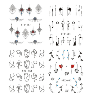 Image 3 - 1Pcs Wit Zwart Nail Stickers Water Transfer Decals Decoratie Droom Cather Slider Voor Nail Diy Tips LASTZ634 658