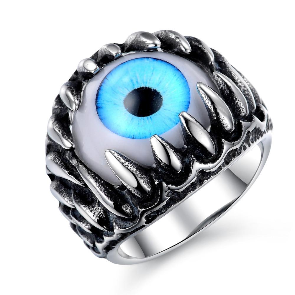 Punk cool man Real stainless steel opal Ring Men\'s big eyes green ...