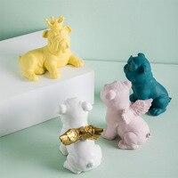 Nordic Bulldog Decoration Creative Home Ceramic Tabletop Children's Bedroom Cartoon Bull Fighting Ornamental Craft Cute Gift