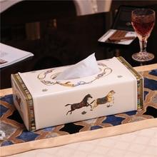 Tissue box ceramic horse 10 Tissue box European ceramic removable tissue boxes Living room decoration vietnam autumn rattan tissue box creative living room pumping paper rattan straw tissue boxes bamboo simple tissue boxes a4530