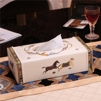 Tissue box ceramic horse 10 European removable tissue boxes Living room decoration