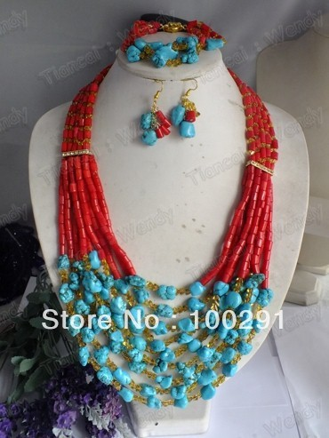 New!!!!!!! 005 african wedding coral jewelry set, coral necklace bracelet earring set