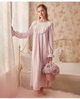 Vintage Nightgown Flannel Sleepwear Women Sleep Dress Long Nightgowns Autumn Winter