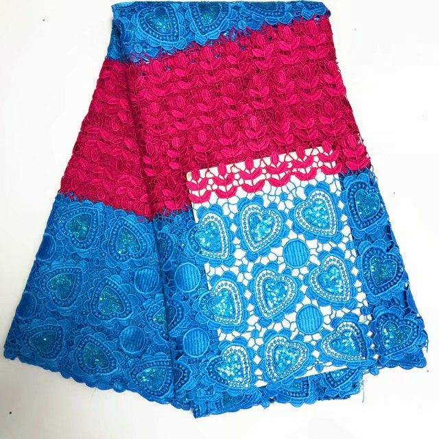 5Y/pc Fashion fuchsia and sky blue french cord lace with sequins decoration african water soluble lace fabric for dress BW20-85Y/pc Fashion fuchsia and sky blue french cord lace with sequins decoration african water soluble lace fabric for dress BW20-8