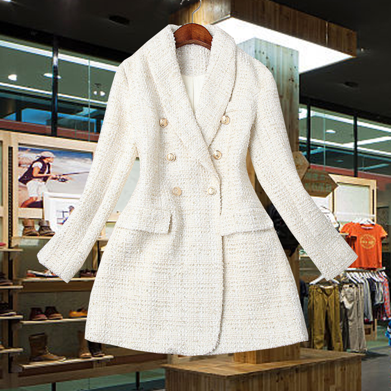 Runway 2019 Designer Blazer Women's Double Breasted Metal Button Long Sleeve Notched Collar Jacket Wool Blends Tweed Blazer Coat