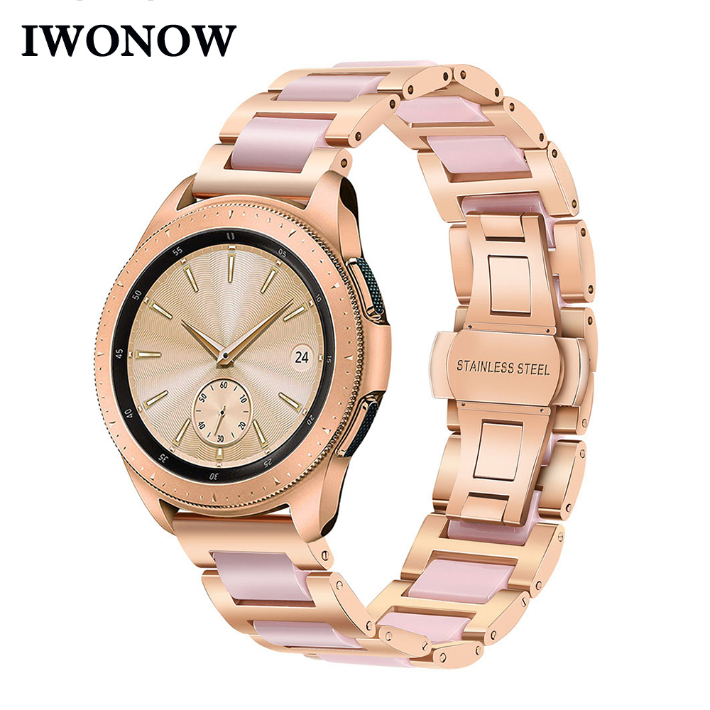 Stainless Steel & Ceramic Watchband 20mm for Samsung Galaxy Watch 42mm Active Gear S2 Classic Vivoactive3 Women Band Wrist Strap