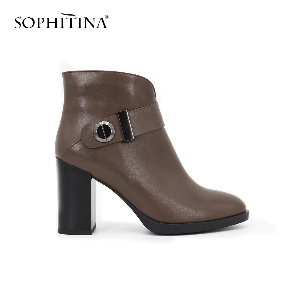 SOPHITINA high heel Ankle boots Round Toe Genuine Leather Cow skin Sheep skin boot Buckle Strap Zipper leather shoes women B036 nayiduyun women genuine leather wedge high heel pumps platform creepers round toe slip on casual shoes boots wedge sneakers