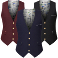 Top Quality Navy Black Burgundy Business Tuxedo Vest Suit Men Wedding Sleeveless Blazer Jacket Formal Waistcoat Male Fashion
