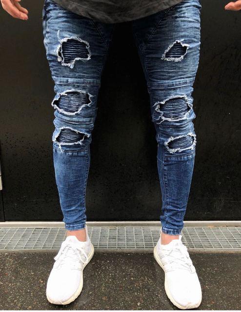 bbaf0ecbd71 Haute Qualité Mode Hommes Bleu Déchiré Chaud Skinny Jeans 2018 Classique  Hip-Hop Denim Biker