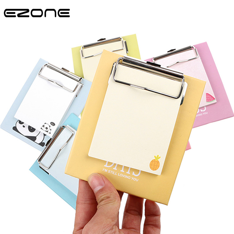 EZONE Board Clip Sticky Note Clipboard Memo Pads Fruit Notebook Printed Kawaii Rabbit/Lemon/Kiwi Sticker School Office Supply