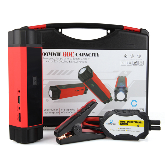 Car Rover 54000mWh 1000A Peak Current for 6.0L Petrol 3.0L Diesel Car Jump Starter Emergency Power Bank Car Battery 14800mAh