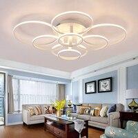 YooE современные светодиодные потолочные светильники для Гостиная Спальня поверхностного монтажа удаленного Управление акриловое кольцо п