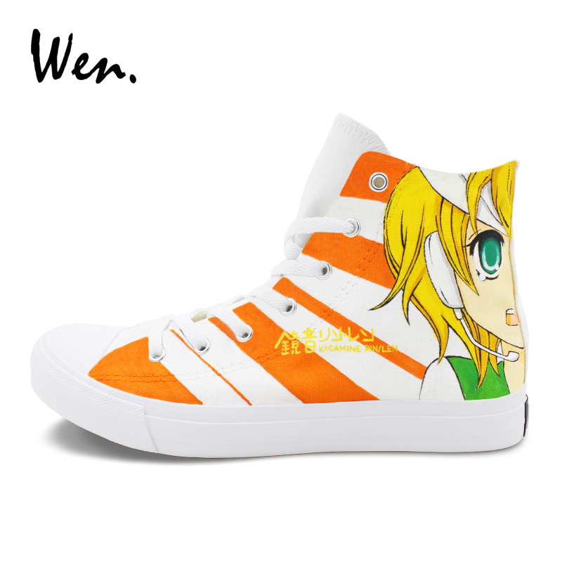 Wen Anime Shoes Hand Painted VOCALOID Kagamine Rin Ren Man Woman Cosplay Shoes Top High Canvas Sneakers Espadrilles Flat Trainer