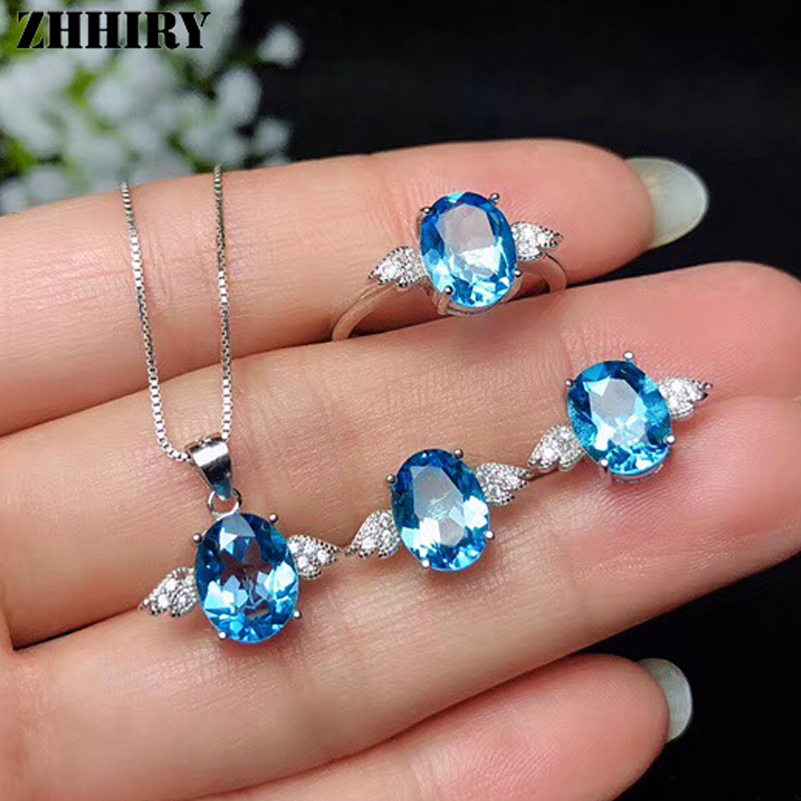 ZHHIRY Women Natural Topaz Jewelry Sets Pendant Necklace Earrings Rings Genuine 925 Sterling Silver  Angel Shape Fine JewelleryZHHIRY Women Natural Topaz Jewelry Sets Pendant Necklace Earrings Rings Genuine 925 Sterling Silver  Angel Shape Fine Jewellery
