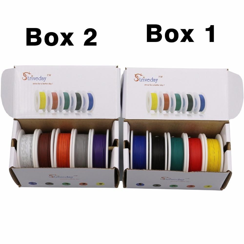 50 mt UL 1007 28AWG 5 farbe Mischen box 1/box 2 paket Flexible ...