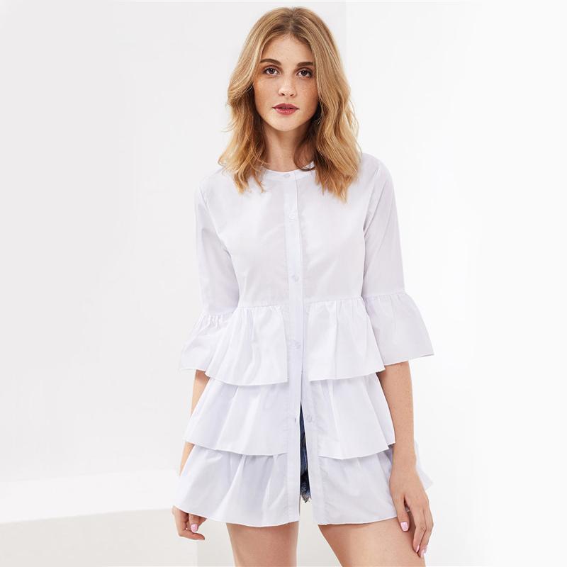 HTB1G8CLRVXXXXbwXpXXq6xXFXXXS - Frill Trim Shirt White Button Up Blouse JKP070