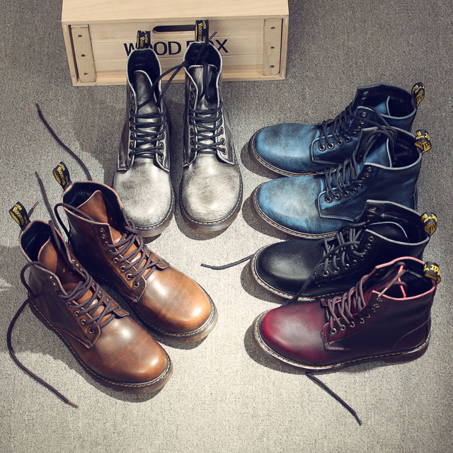 Vintage 군 martin Boots Men (High) 저 (부츠 Genuine leather Shoes Men Motorcycle Boots 탄 Man Shoes Lace-업 Zapatos 험 브레와