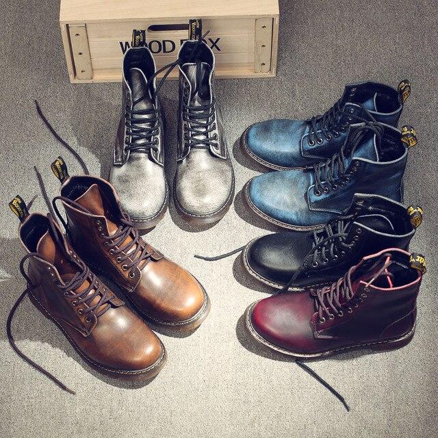Vintage ทหาร martin รองเท้าบู๊ทผู้ชายสูงรองเท้ารองเท้าหนังแท้รองเท้าผู้ชายรองเท้ารถจักรยานยนต์รองเท้าขี่รองเท้า Lace - up Zapatos hombre