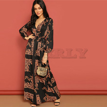 CUERLY V Neck Scarf Print Belted Wrap Casual Dress Women 2019 Spring Long Sleeve Party Maxi Dress Vacation Ladies Dresses недорого