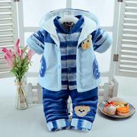 Winter Autumn Infant Baby's Sets Cute Bear Style Add Cotton Padded Thick Clothes Suits 0 6M Newborn Baby 3 Pcs/Set High Quality