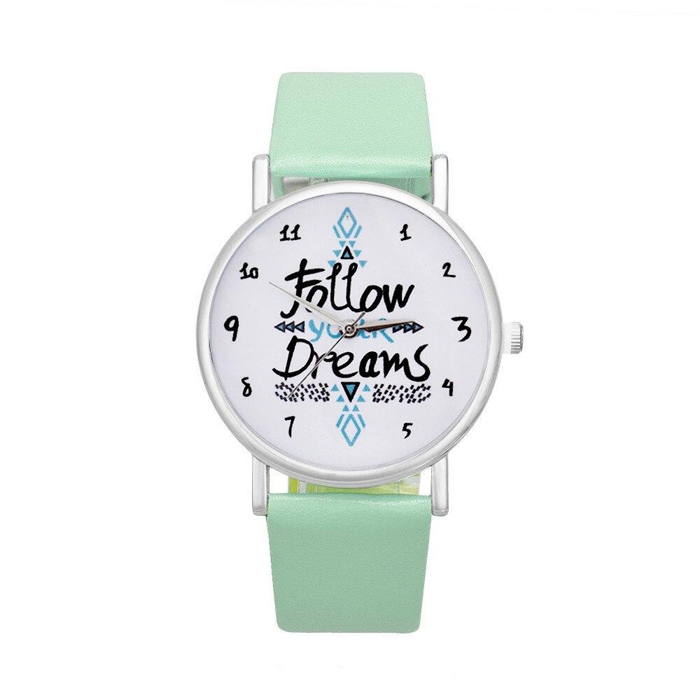 fb3b4671b86 Relojes Mujer 2016 Mulheres Seguir Os Sonhos Palavras Padrão de Relógio de  Couro Senhoras Da Forma de Quartzo Relógio Analógico Relógio de Pulso