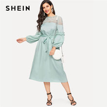 SHEIN Turquoise Lace Yoke Pearl Beading Lantern Sleeve Belted Long Dress Spring Women Solid Laser Cut Hollow Out Midi Dresses(China)