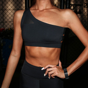 Image 3 - Mermaid Curve 2020 New Oblique One Shoulder Strap Womens Sports Bra Hollow out Back Lines Strenuous Exercise fitness bra Tops
