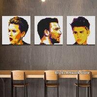 50*50 studs Pixel Art Mosaic Painting MOC Set DIY Personal Head Portrait ICON SuperStar Leonardo Building Blocks Gifts 40*40CM
