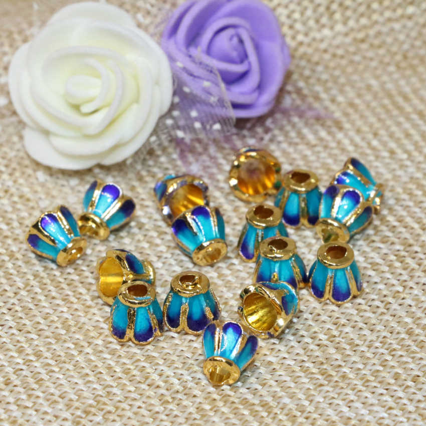 Livraison gratuite 7mm 5 pièces émail bleu couleur or cloisonné accessoires entretoises perles casquettes prix de gros fabrication de bijoux B2476