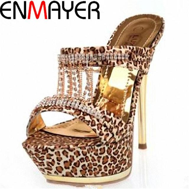 ENMAYER New Fashion Style Fashion Brand Sexy Leopard Women Platform High Heels Pumps Crystal Women Shoes