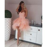 Мода розовый персик милые платья на выпускной бисером Выпускные платья носить платья тюль мини юбки 8th Класс сладкий 15