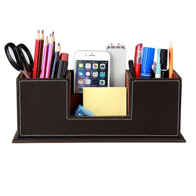 Pu Leather Desktop Storage Box 4 Compartment Desk Organizer Card Pen Pencil Mobile