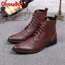 Choudory botas masculina sapatos de inverno homens couro genuíno marrom preto à prova d' água militar botas lace up botas de cowboy dos homens