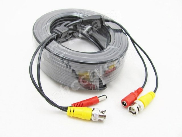 2x New 65ft 20m DC Power Extension BNC Video Cable for CCTV Security Surveillance Home Tiny Camera
