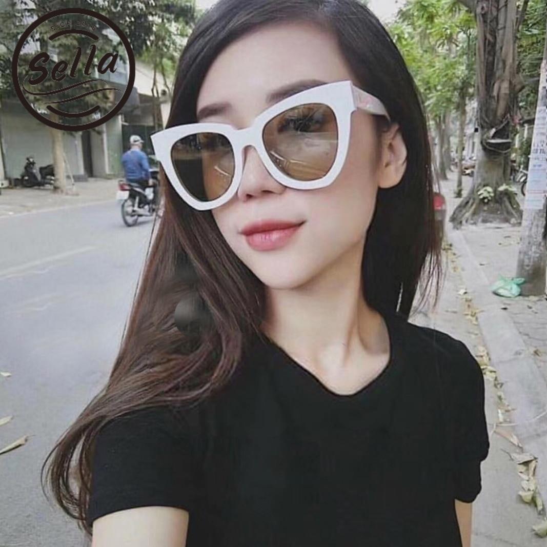 Sella 2018 nueva llegada del estilo coreano de la manera oversized cateye Gafas de sol tendencia mujeres Zebra Stripe blanco Marcos Sol Gafas