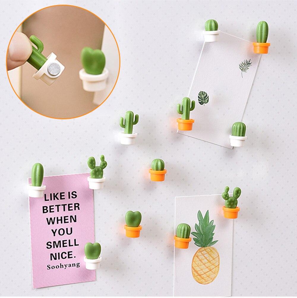 6pcs Fridge Magnets Cute Succulent Plant Magnet Button Cactus Refrigerator Message Sticker Magn cup