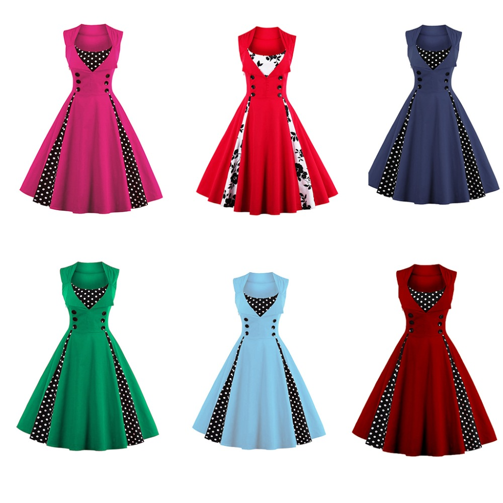 Women 5XL New 50s 60s Retro Vintage Dress Polka Dot Patchwork - Damkläder - Foto 4