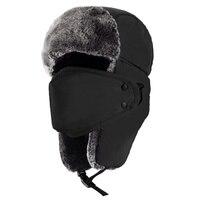 Unissex chapéu de caça chapéu de soldado de inverno aba de orelha cinta de queixo e máscara à prova de vento (preto) earmuffs boné com máscara grossa tampão de equitação de orelha|Máscara facial p/ ciclismo| |  -